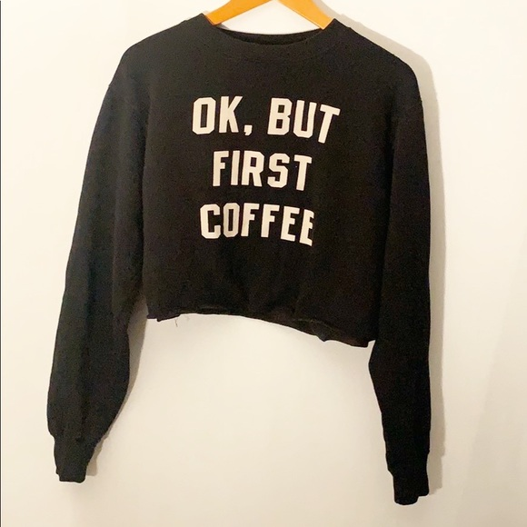 Brandy Melville Sweaters - Brandy Melville Ok But first Coffee Sweater Small
